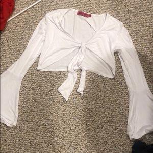 Boohoo crop top white. Never worn.